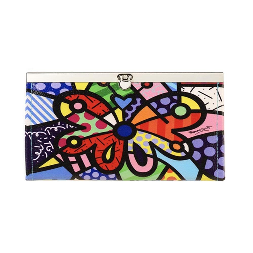 Carteira Borboleta - Romero Britto - Colorida com Fecho de Metal em Courino - 19x10 cm