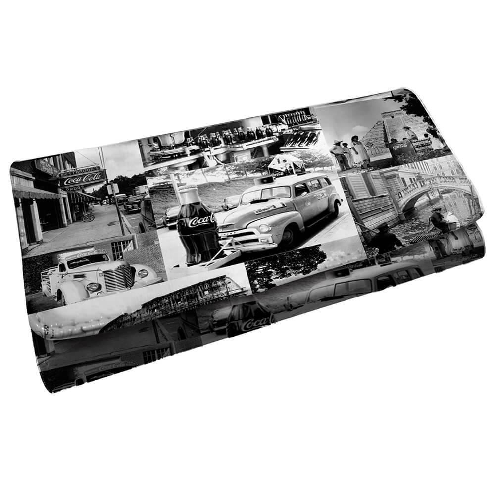 Carteira Coca-Cola Landscape Cars Branco e Preto em PU - Urban - 18x9 cm