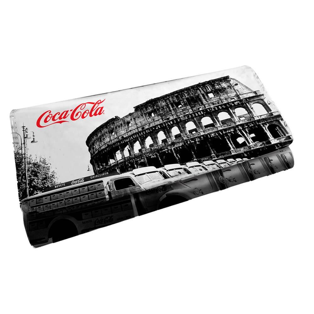Carteira Coca-Cola Landscape Roma Branco e Preto em PU - Urban - 18x9 cm