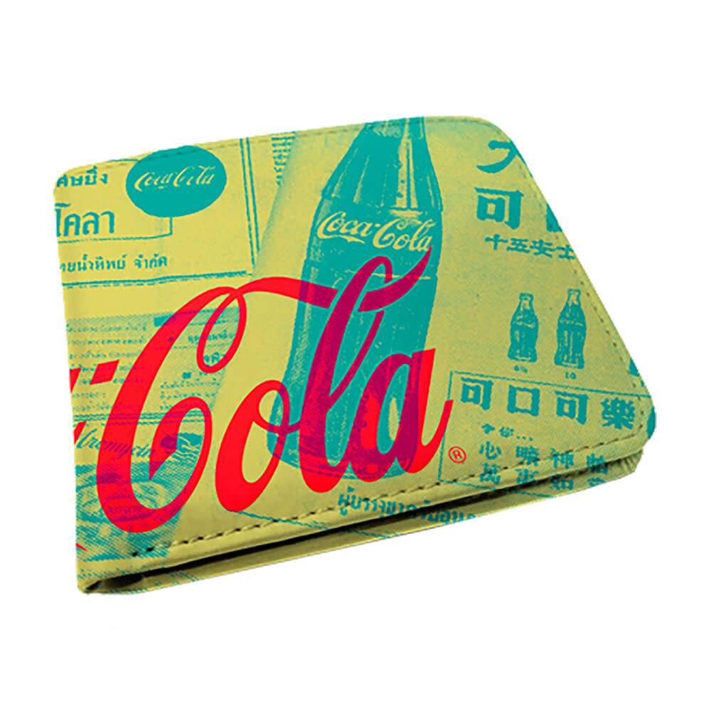 Carteira Coca-Cola Newspaper Amarelo em PU - Urban - 12x9 cm