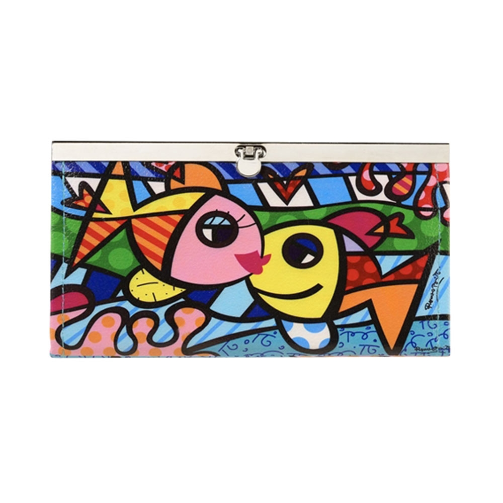 Carteira Deeply in Love Peixes - Romero Britto - Colorida com Fecho de Metal em Courino - 19x10 cm