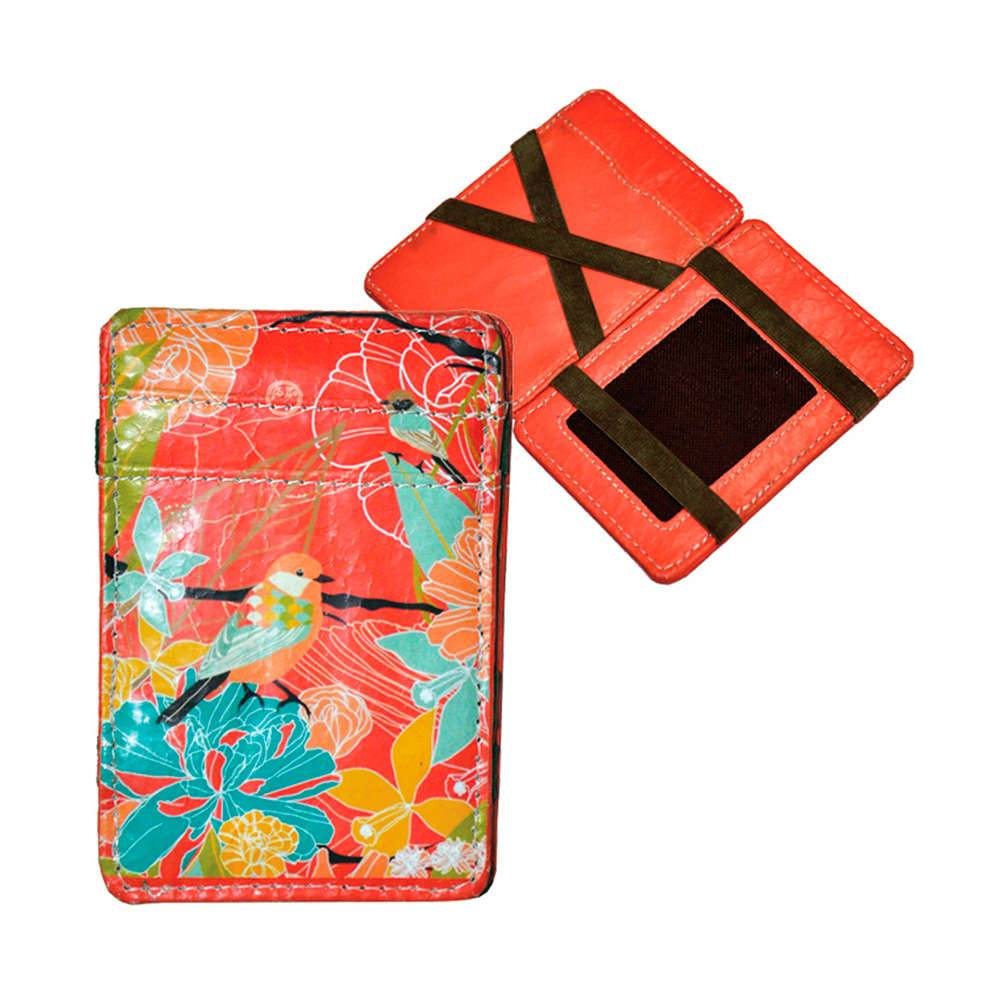 Carteira Magic Wallet Single Birds Flowers em PU - Urban - 11x7,3 cm