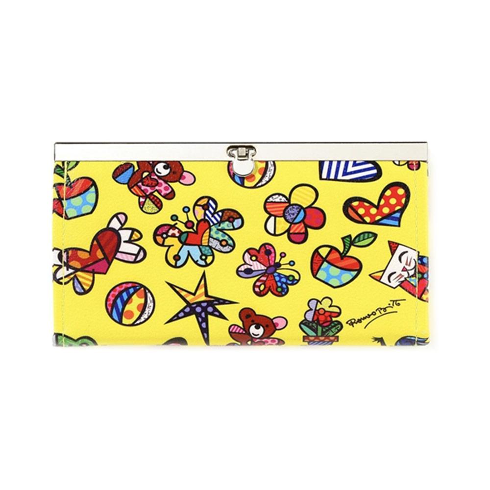 Carteira Mini Ícones - Romero Britto - Amarela com Fecho de Metal em Courino - 19x10 cm