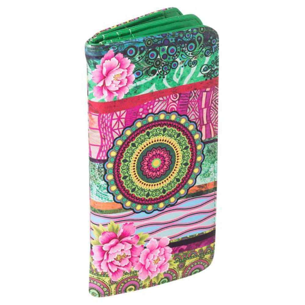 Carteira Patchwork Verde e Rosa em Courino - 19x9 cm