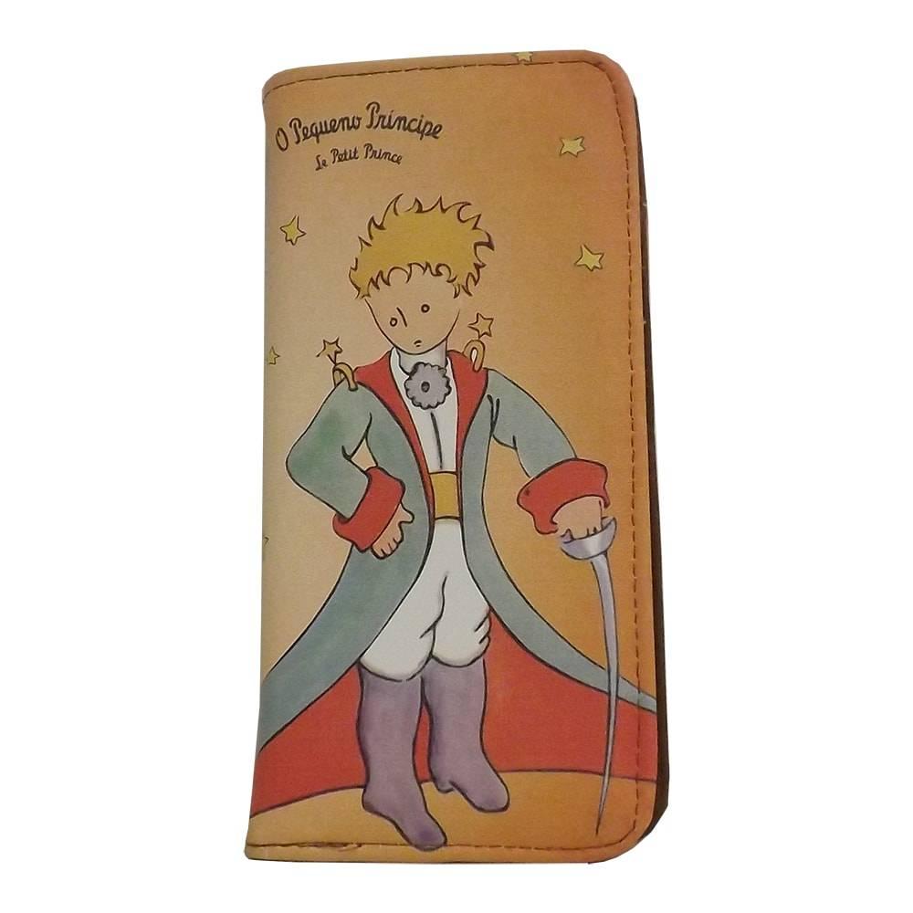 Carteira Vintage O Pequeno Príncipe Bege em PU - 19x9 cm