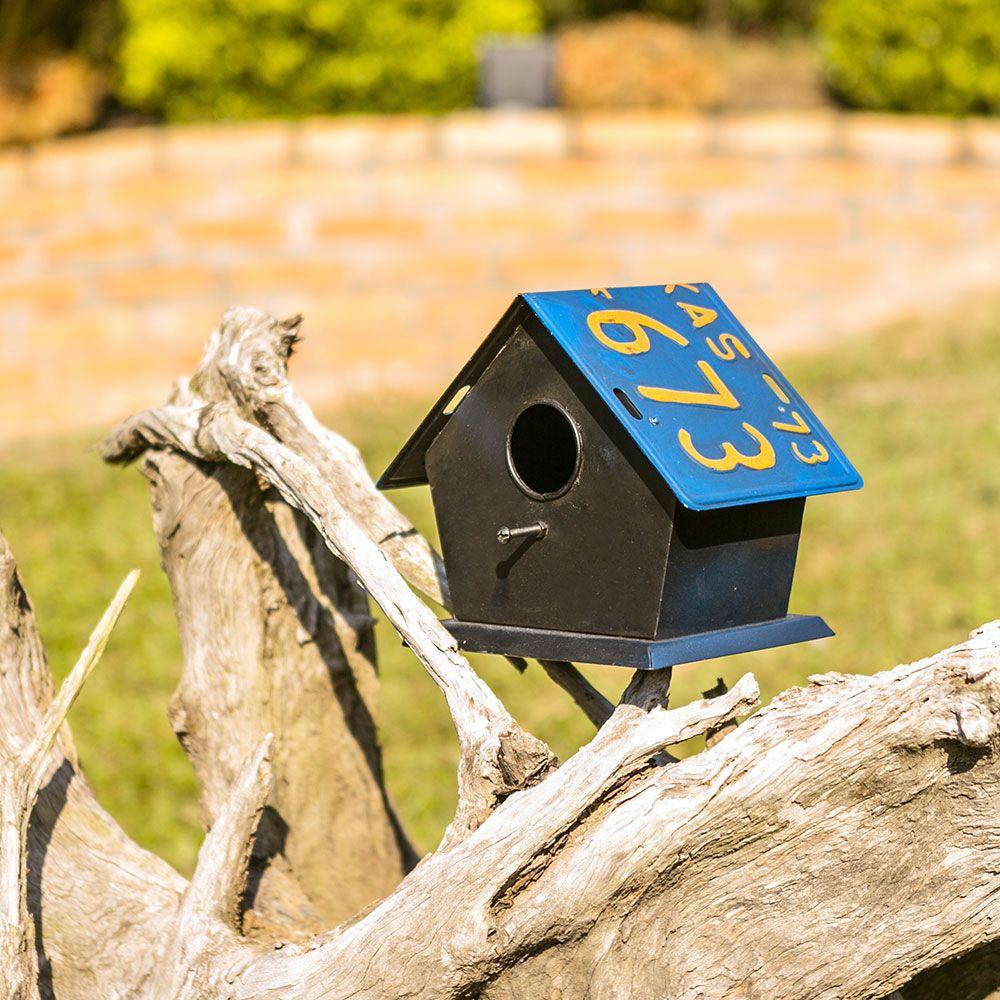 Casa de Pássaro Teto com Placa Azul Oldway - 21x19 cm