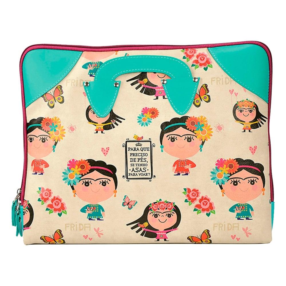 Case para Notebook 13/14 Frida - Carpe Diem - c/ Alça Retrátil em Couro Sintético - 33x27 cm