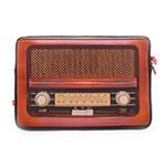 Case para Notebook Estampa Rádio Retrô Marrom em Neoprene - 36x25 cm