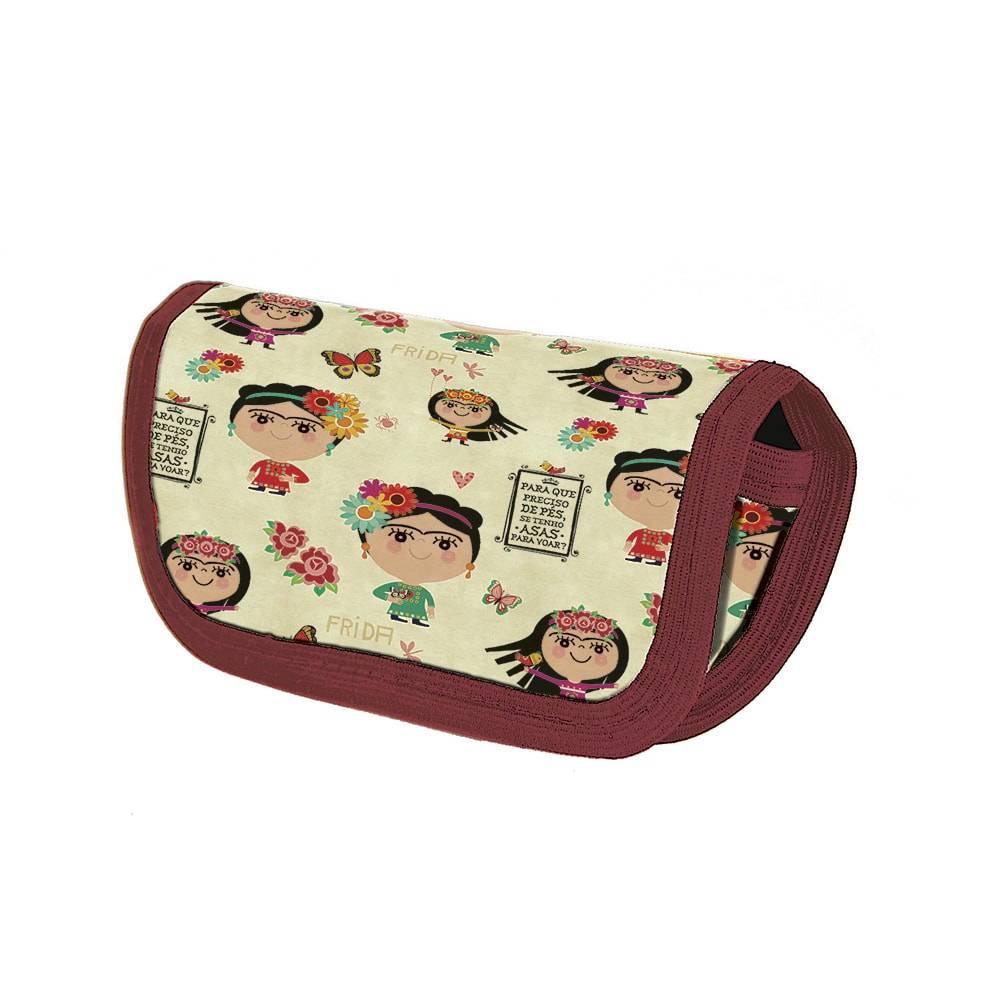 Case Porta Óculos Frida - Carpe Diem - em Nylon Resinado Estampado - 16x9 cm