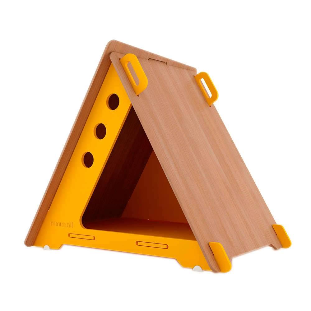 Casinha para Pet CampHaus Amarela e Amêndoa em MDF - Pequena - 68x56 cm