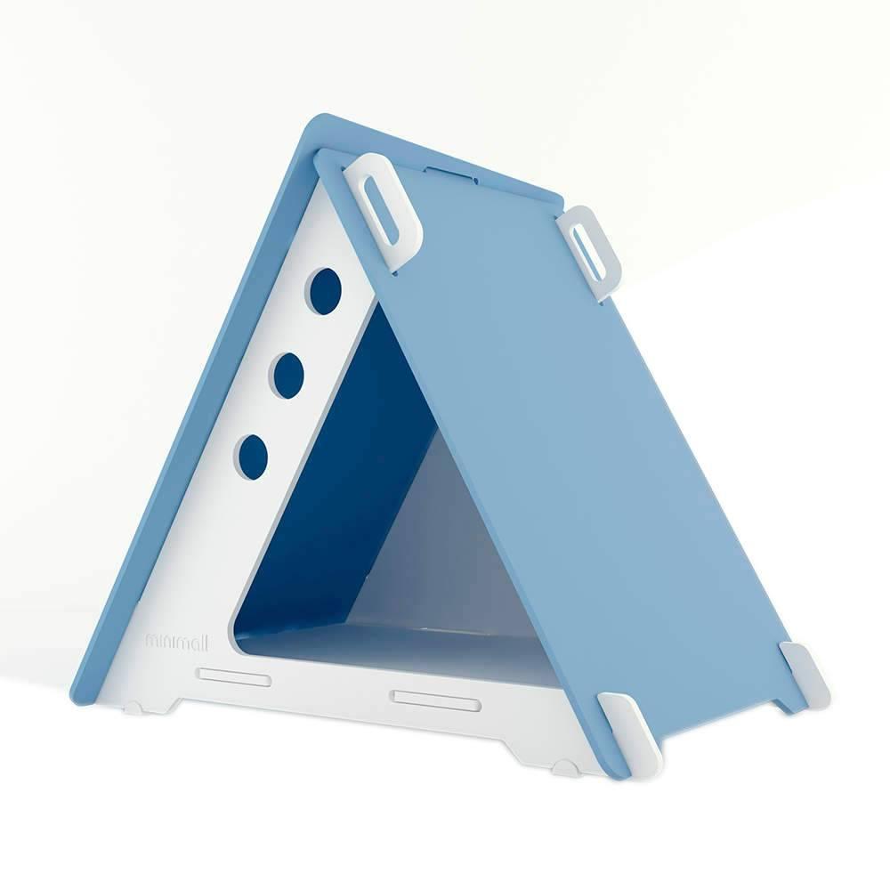 Casinha para Pet CampHaus Azul e Branca em MDF - Pequena - 68x56 cm