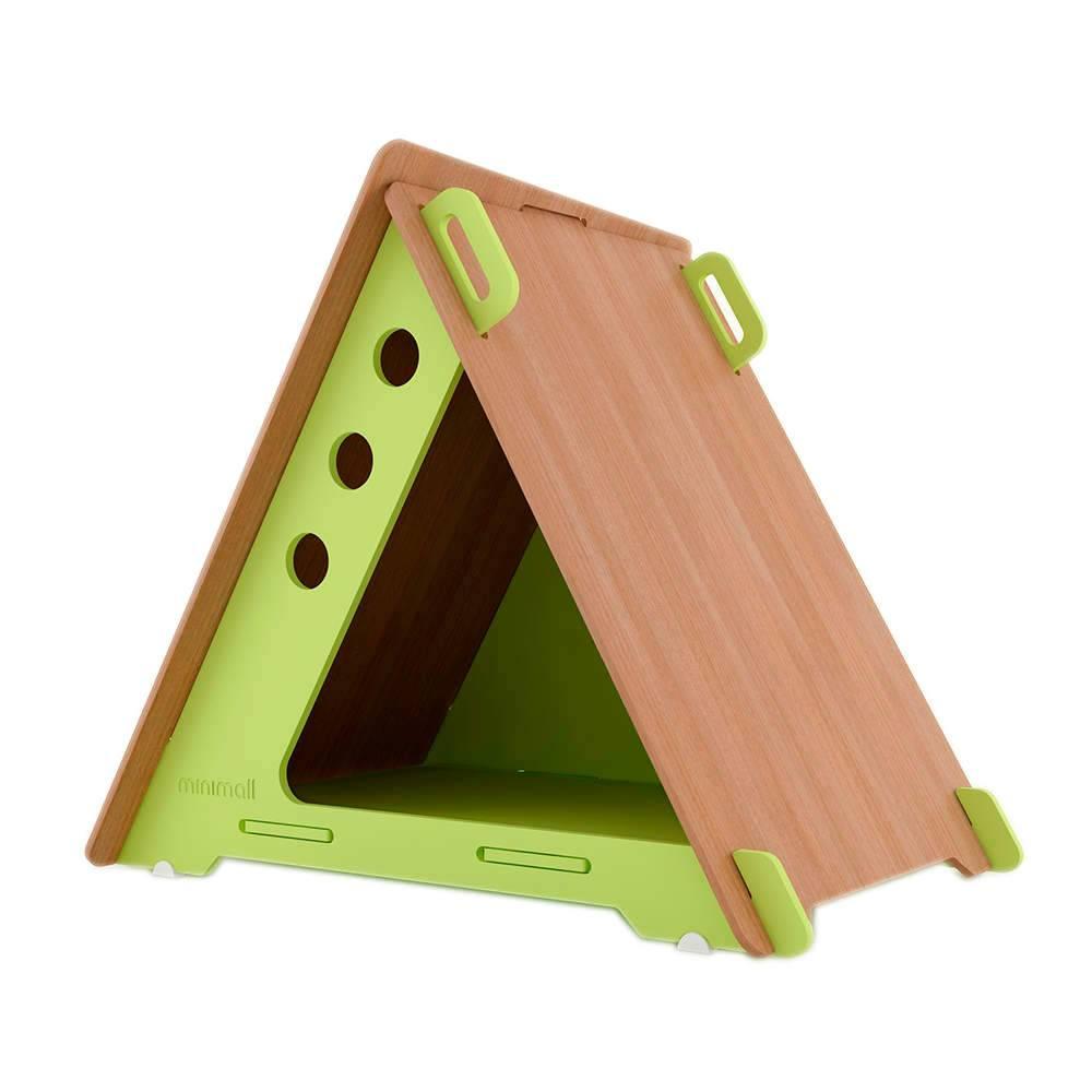 Casinha para Pet CampHaus Verde e Amêndoa em MDF - Pequena - 68x56 cm