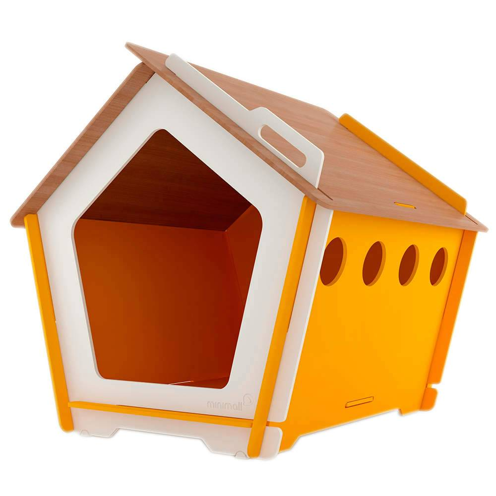 Casinha para Pet KingHaus Amarela em MDF - Pequena - 63x63 cm