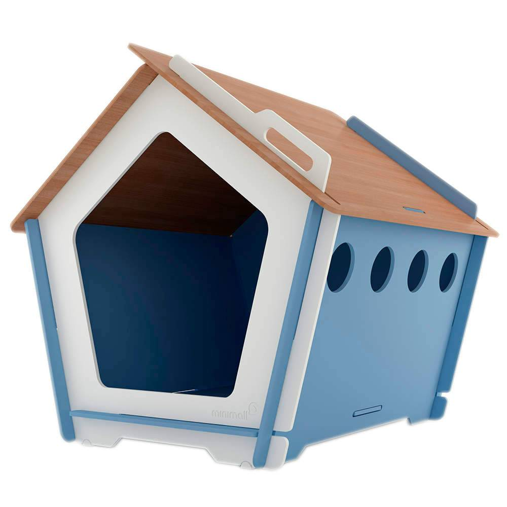 Casinha para Pet KingHaus Azul em MDF - Pequena - 63x63 cm