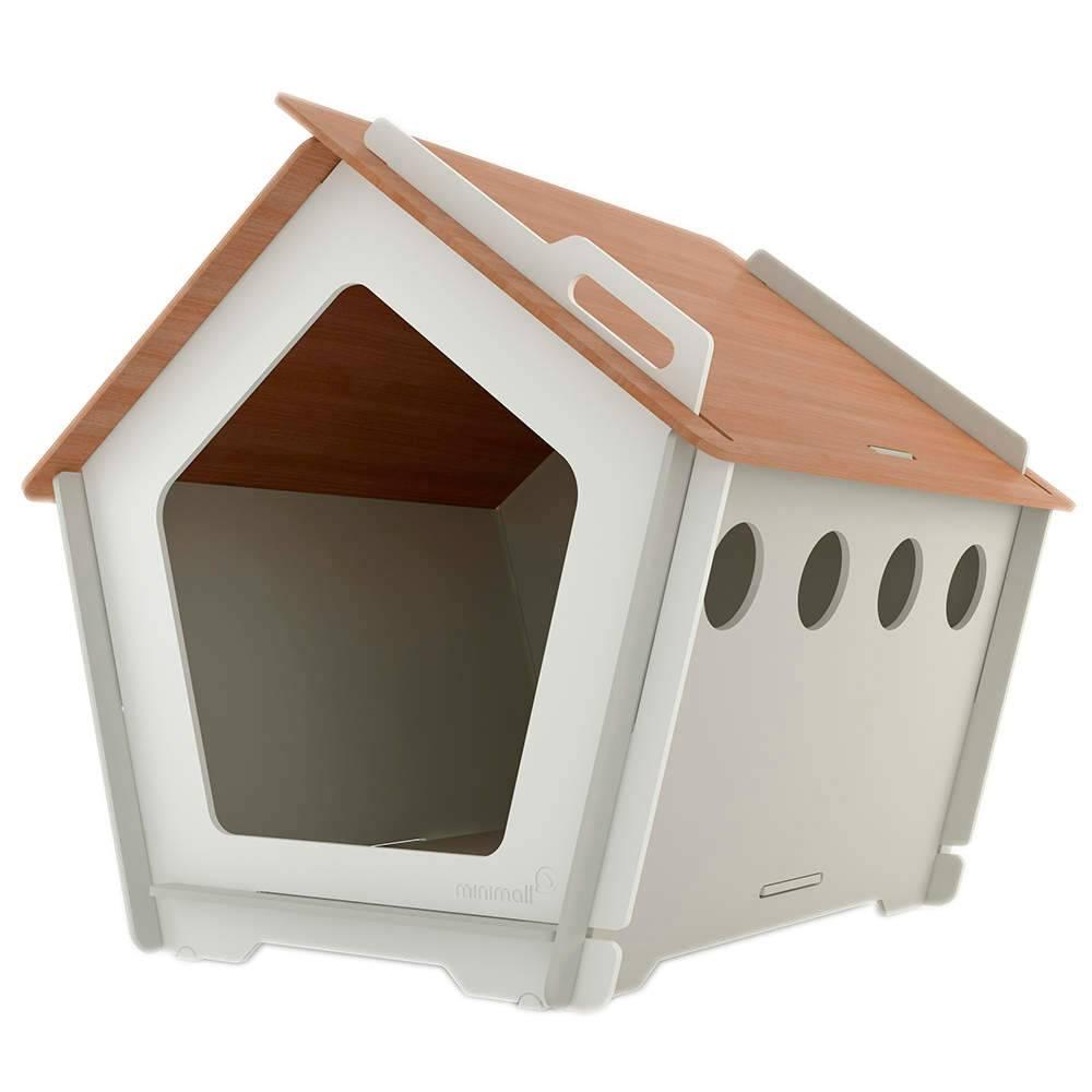 Casinha para Pet KingHaus Cinza em MDF - Pequena - 63x63 cm