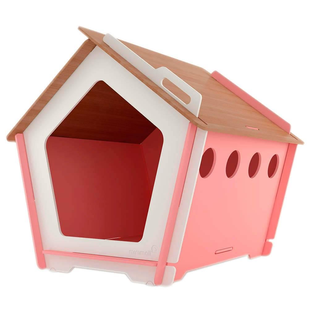 Casinha para Pet KingHaus Rosa em MDF - Grande - 117x116 cm