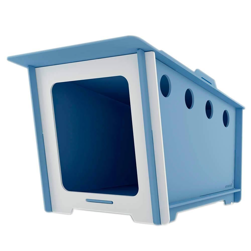 Casinha para Pet MiniHaus Azul em MDF - Pequena - 74x44 cm