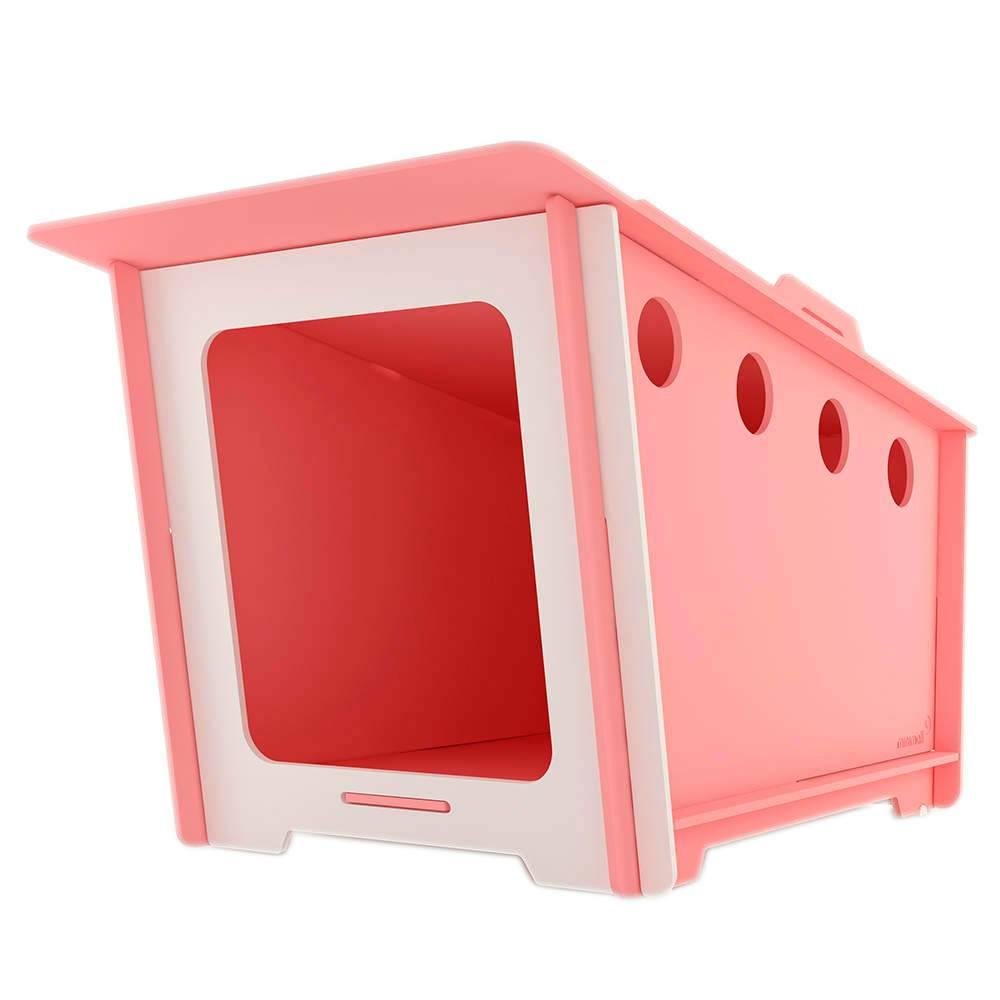 Casinha para Pet MiniHaus Rosa em MDF - Pequena - 74x44 cm