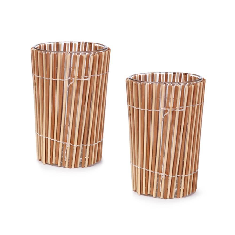 Castiçais Bamboo - 2 Peças - em Vidro - 10,5x7 cm