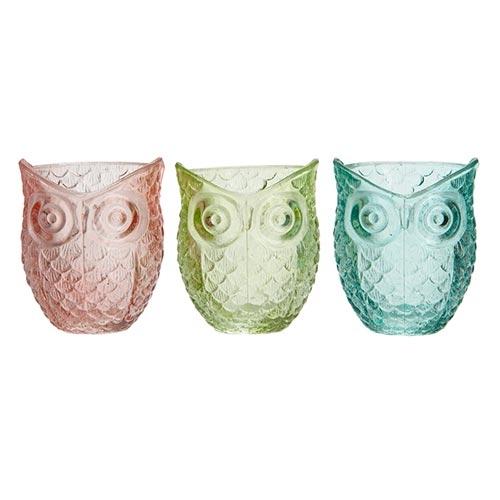 Castiçais Corujas - 3 Peças - em Vidro - 9x7 cm