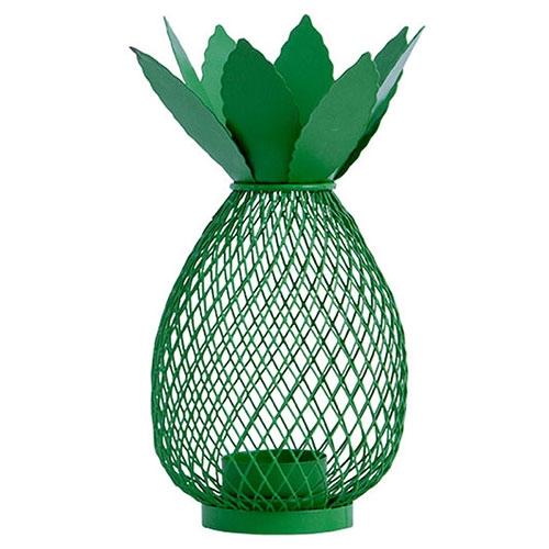 Castiçal Abacaxi Verde em Metal - 19x11 cm