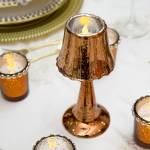 Castiçal Formato Abajur Dourado em Vidro - Lyor Classic