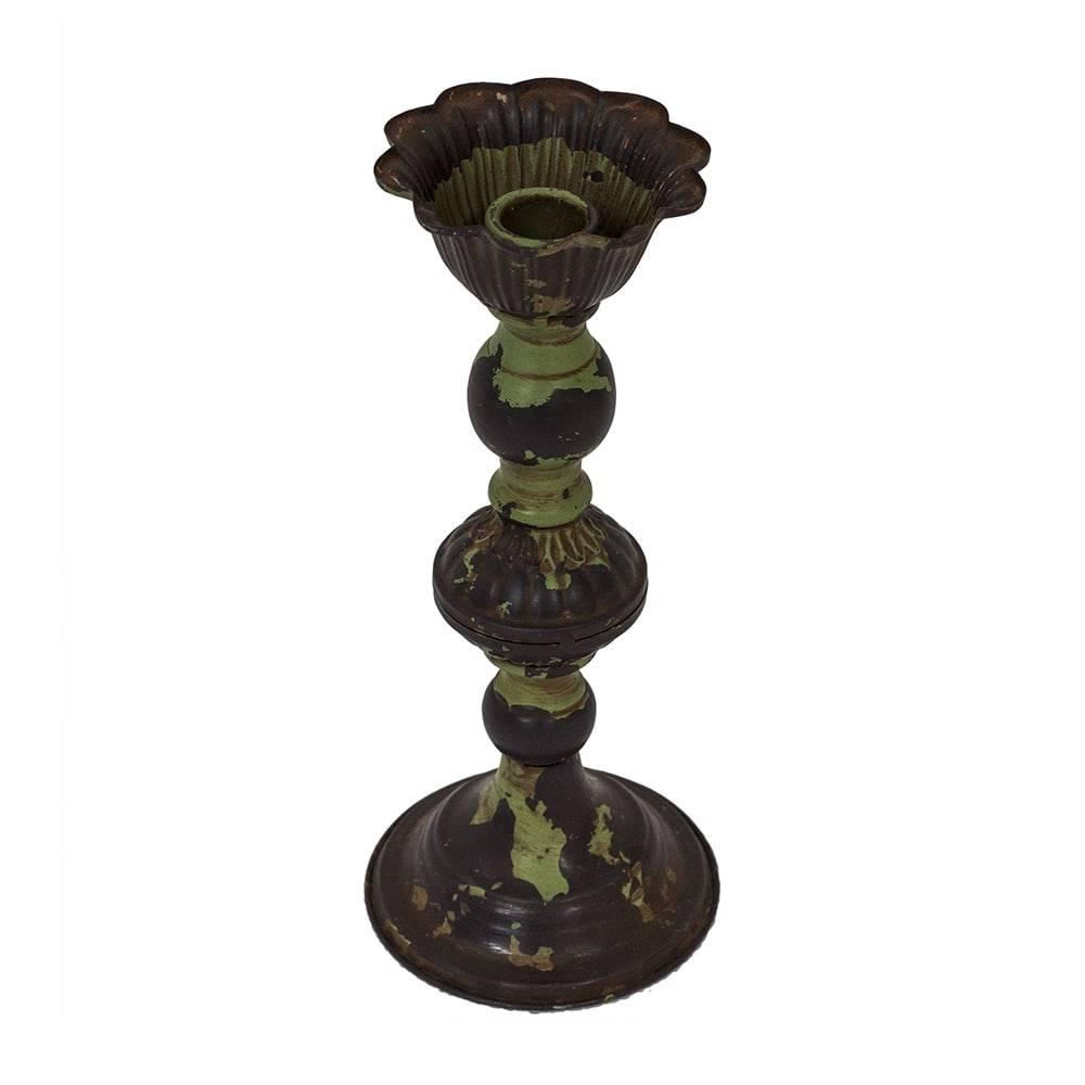 Castiçal Antique Verde Pátina em Ferro - 25x11 cm