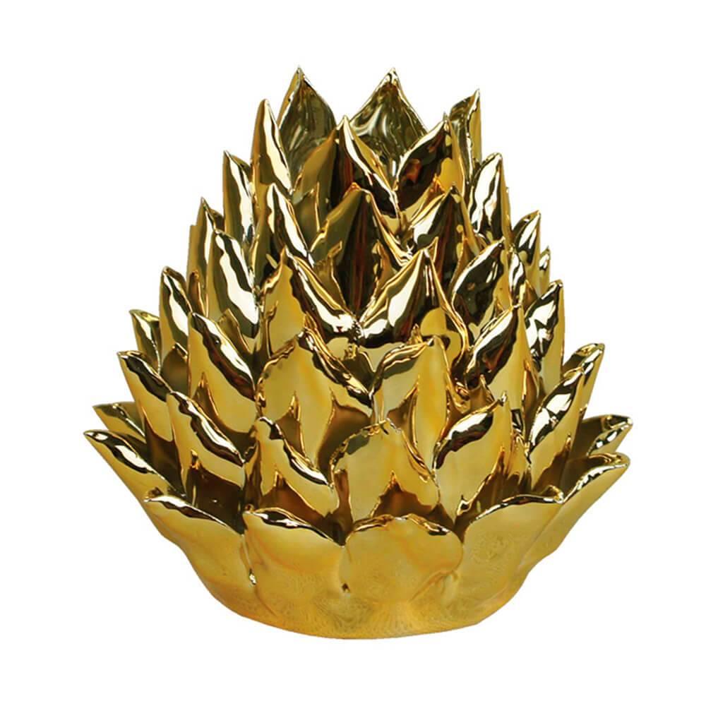 Castiçal Artchoke Hearts Dourado Grande em Cerâmica - Urban - 13x12,5 cm