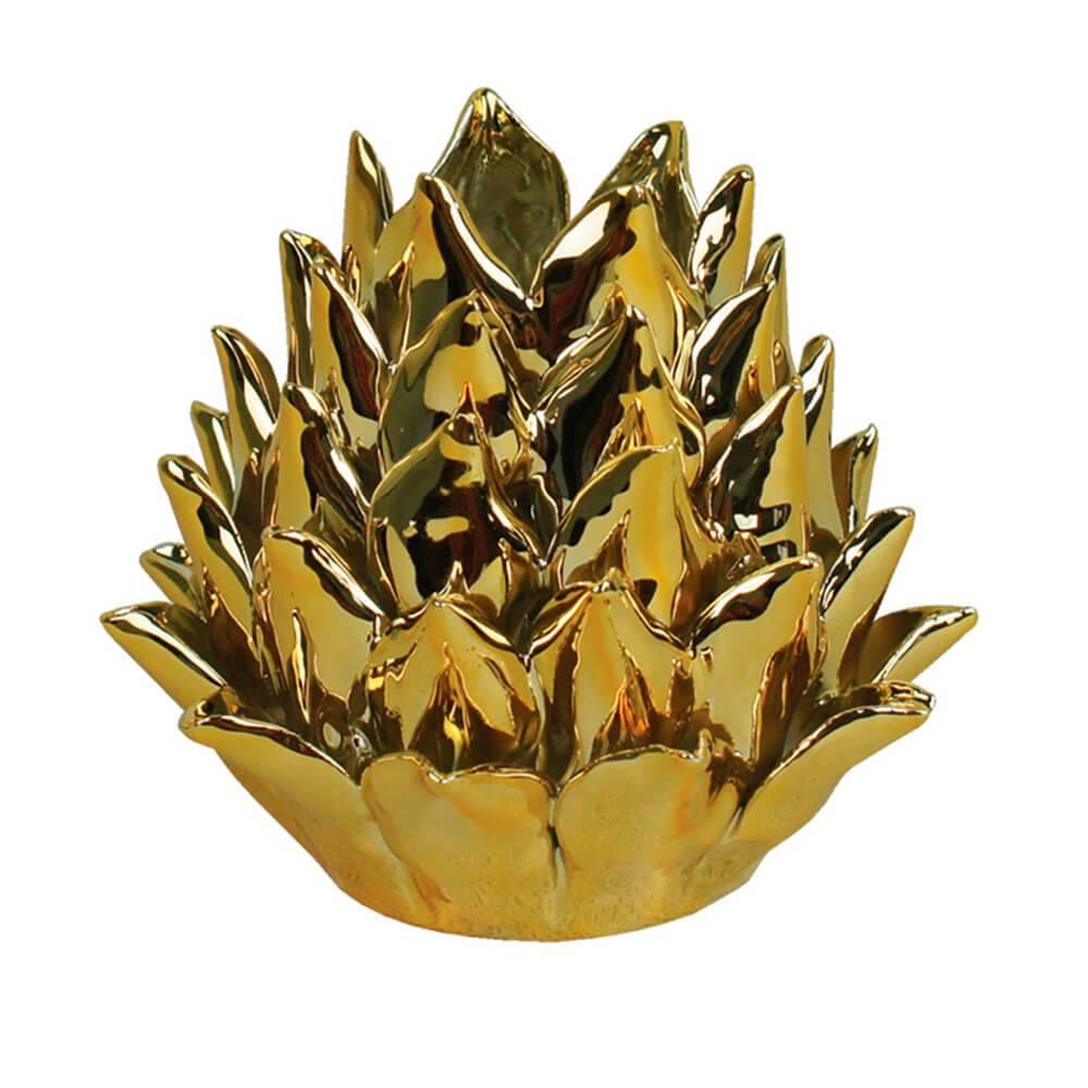 Castiçal Artchoke Hearts Dourado Pequeno em Cerâmica - Urban - 11x9 cm