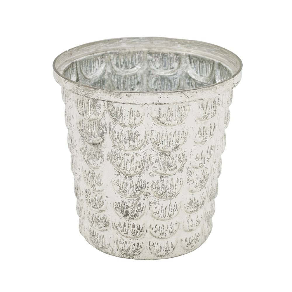 Castiçal Baluarte Prateado em Vidro - 10x10 cm