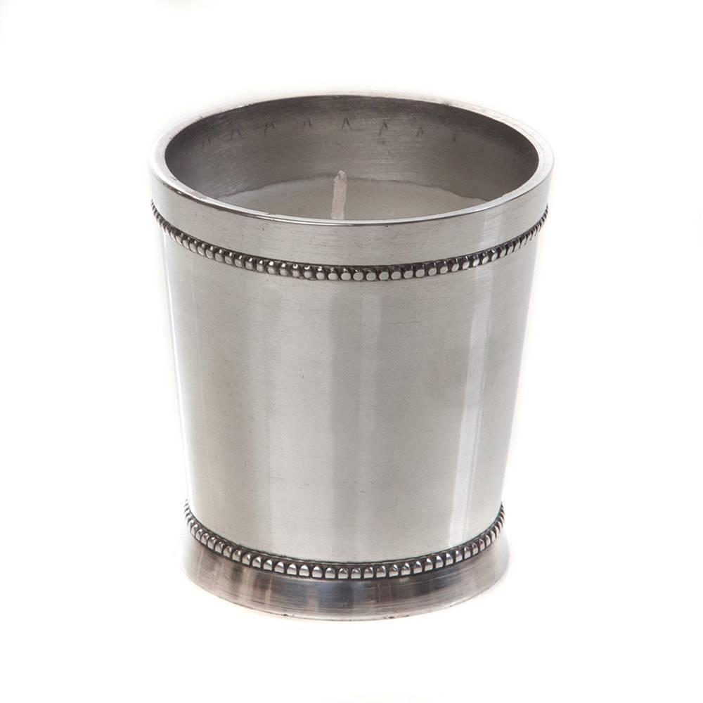 Castiçal Beatrice com Vela Prateado em Alumínio - 8x7 cm