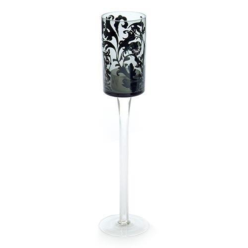 Castiçal Black Flowers em Vidro - 30x6 cm