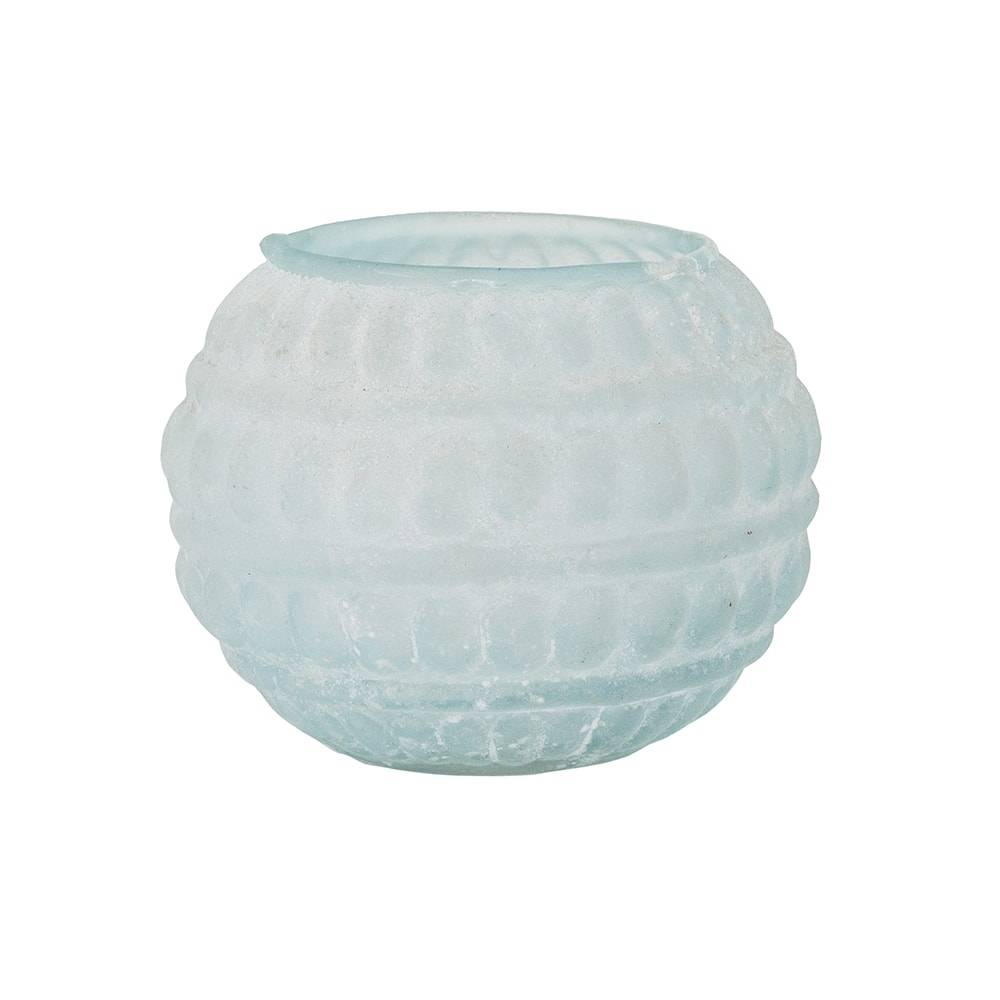 Castiçal Bolha Turquesa Pequeno em Vidro - 11x9 cm