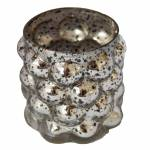 Castiçal Bolhas Prateado Pequeno em Vidro - 7x6 cm