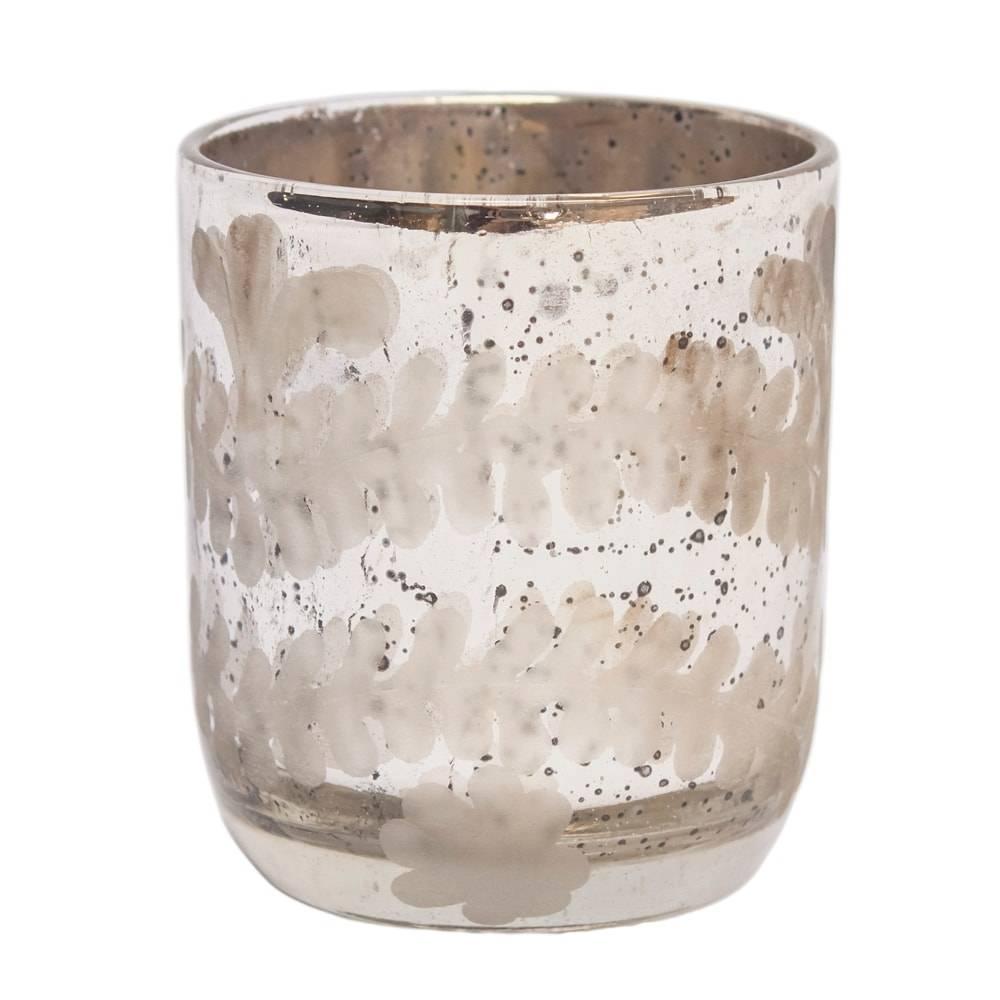 Castiçal Borday Prateado Pequeno em Vidro - 8x7 cm