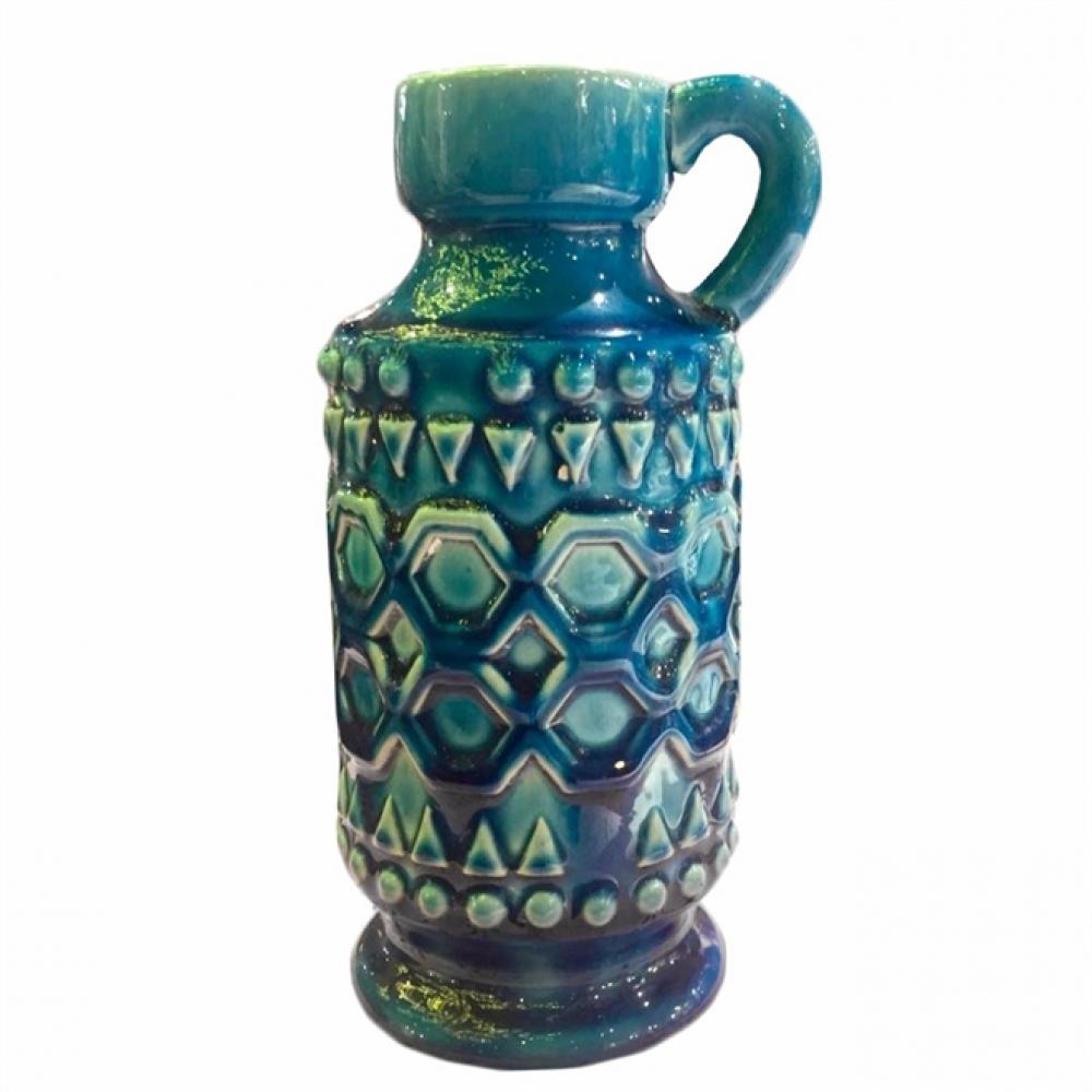Castiçal Cerâmica Azul G