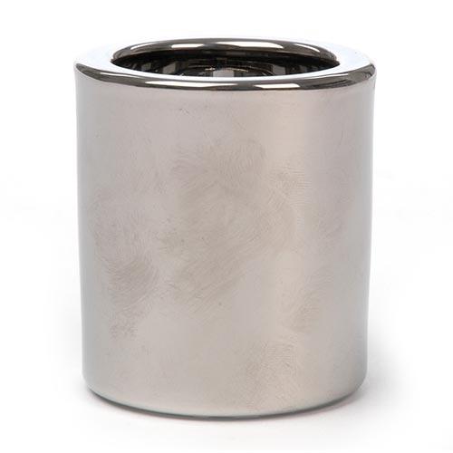 Castiçal Cilíndrico Cinza e Prata em Cerâmica - 6,5x6 cm