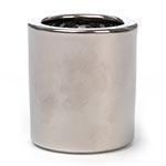 Castiçal Cilíndrico Cinza e Prata em Cerâmica