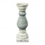 Castiçal Cinza Rústico Grande em Cerâmica - 41x12 cm