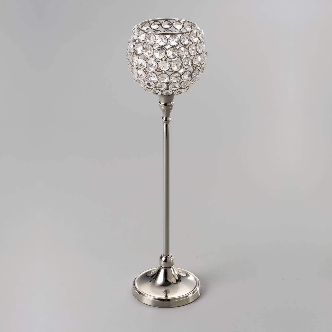 Castiçal Luxo Grande Prateado em Cristal e Ferro - Delhi Wolff - 42,5x7,5 cm