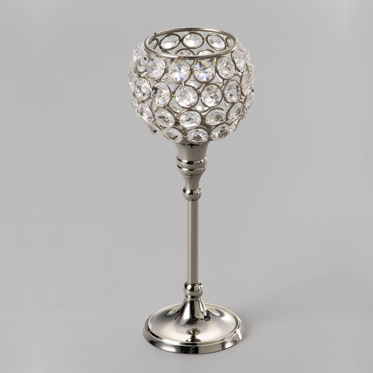 Castiçal Delicate Médio Prateado em Cristal e Ferro - Delhi Wolff - 20x5,6 cm