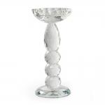 Castiçal Crystal Bord Médio Transparente em Vidro - 21x10 cm