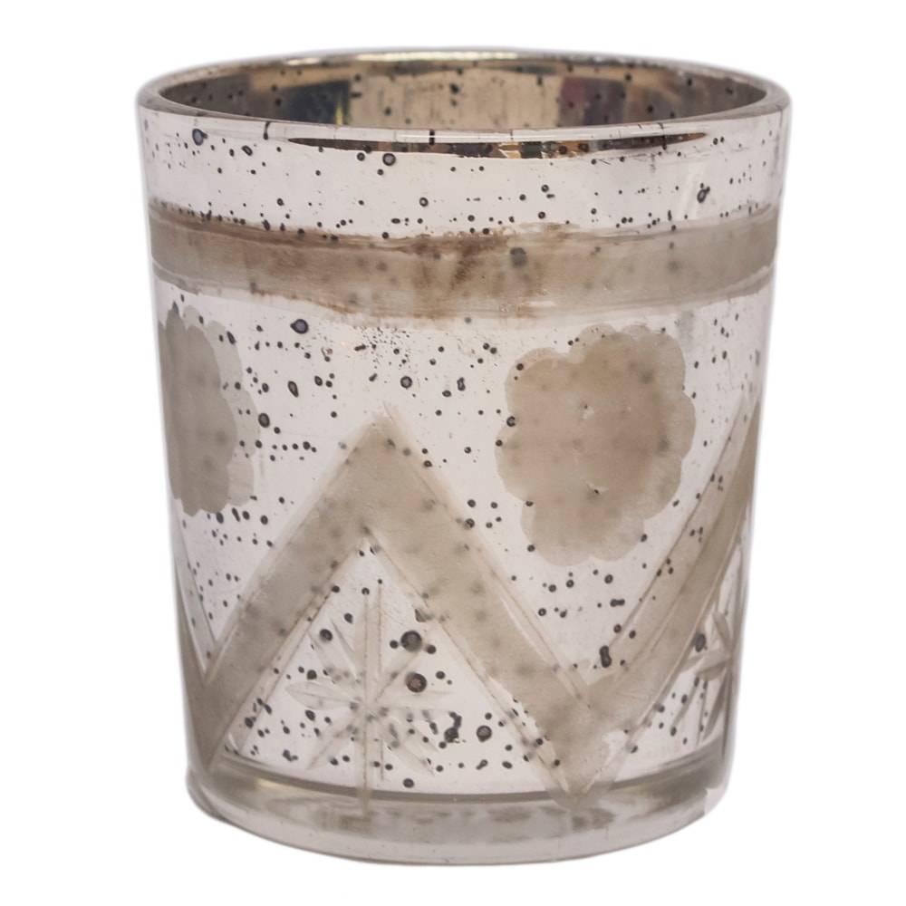 Castiçal Dickson Prateado Pequeno em Vidro - 8x7 cm