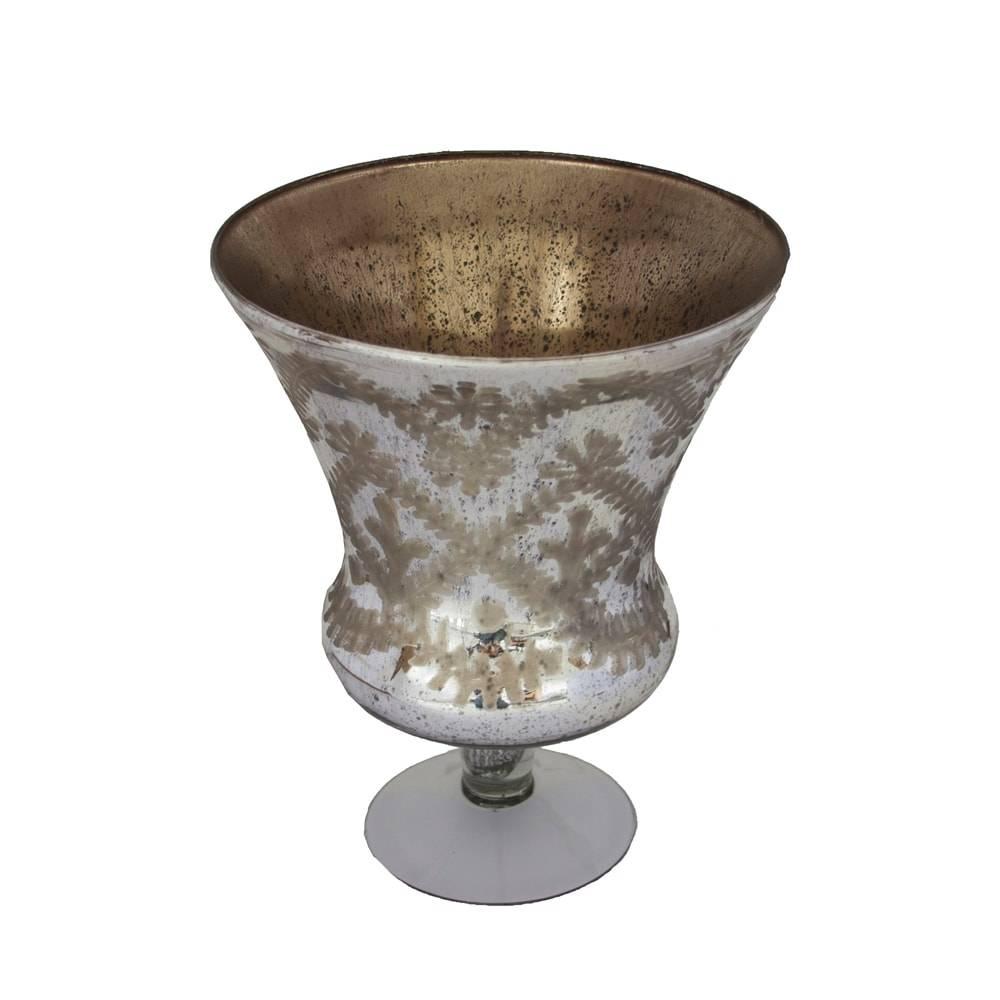 Castiçal Donzela Bella Prateado Grande em Vidro - 33x27 cm