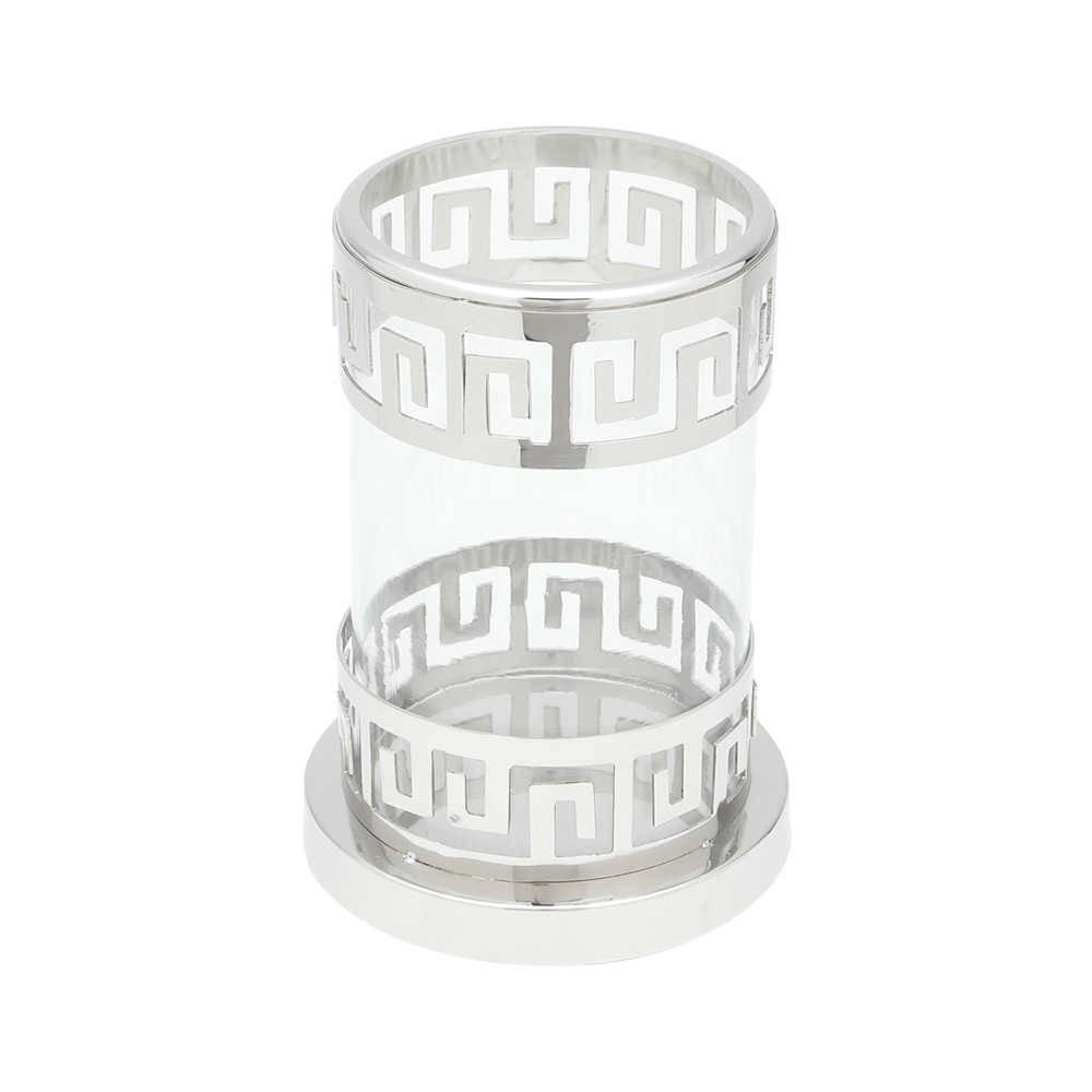 Castiçal Donzela em Latão e Vidro com Decoração de Faixas Gregas - Lyor Classic - 23,5x15,5 cm