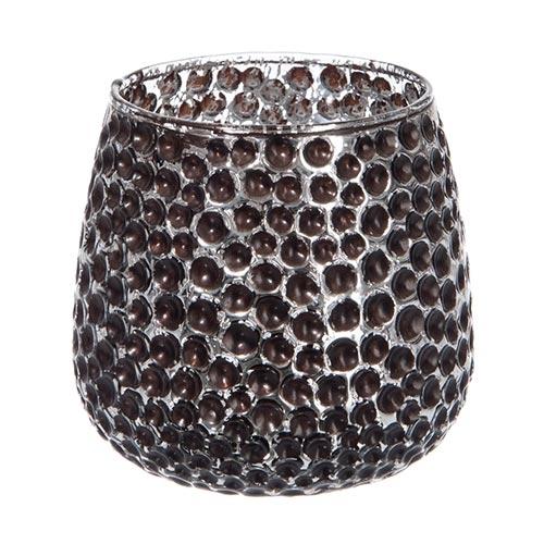 Castiçal Dots Marrom/Prata em Vidro - 10x9,5 cm