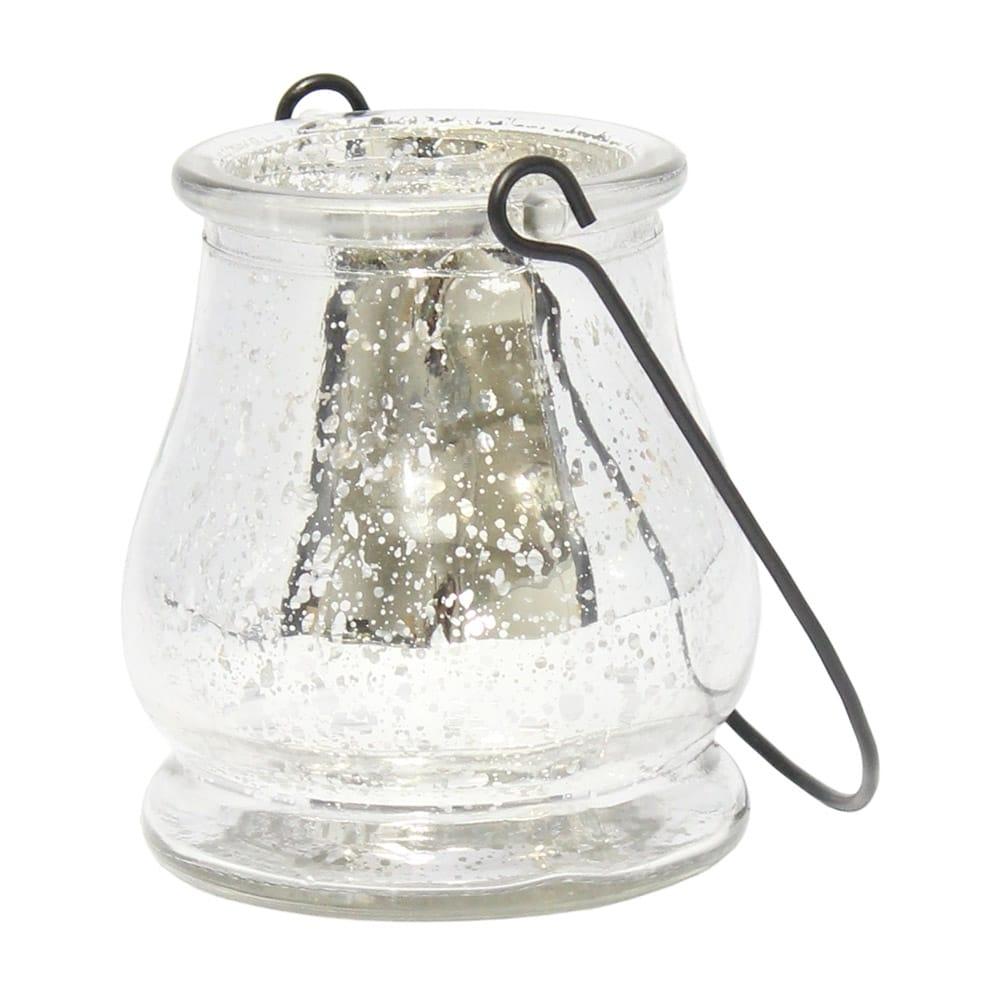 Castiçal Drop Prata Metálico em Vidro - 9,5x9 cm