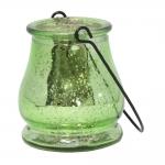 Castiçal Drop Verde Metálico em Vidro - 9,5x9 cm
