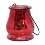 Castiçal Drop Vermelho Metálico em Vidro - 9,5x9 cm