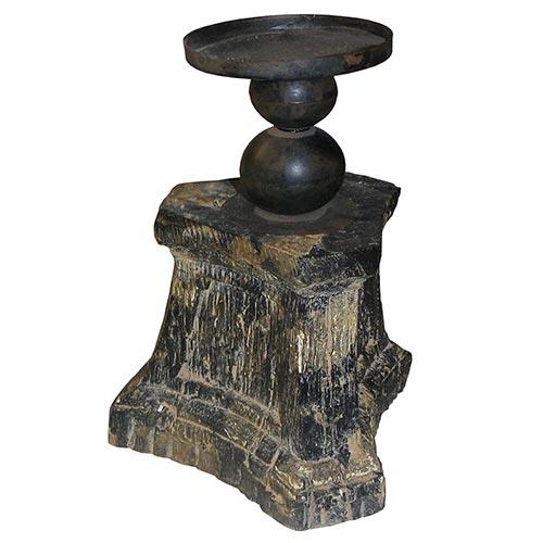 Castiçal Envelhecido Black Oldway - 28x18cm